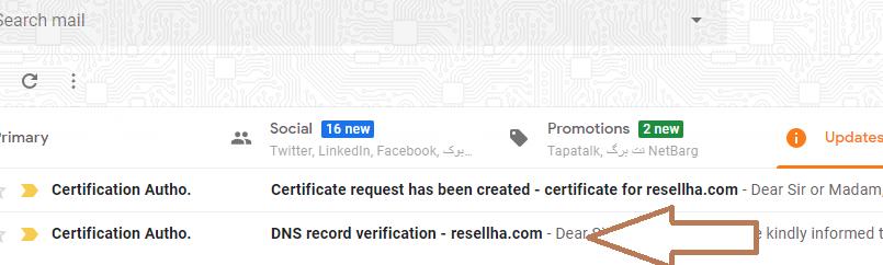 ایمیل های دریافتی از سمت صادر کننده گواهینامه SSL