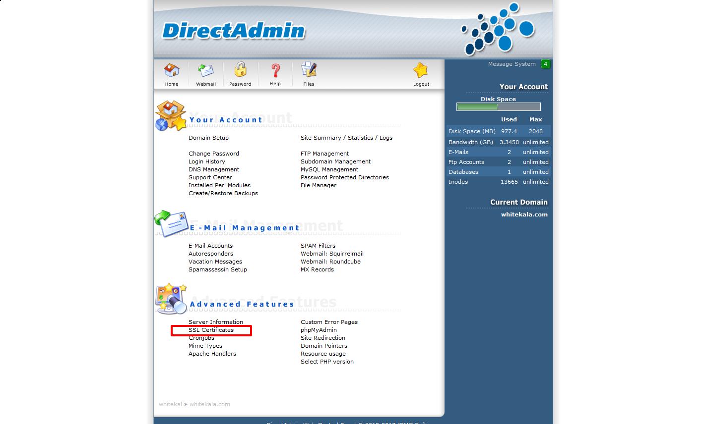 آموزش ایجاد کد CSR در دایرکت ادمین Directadmin