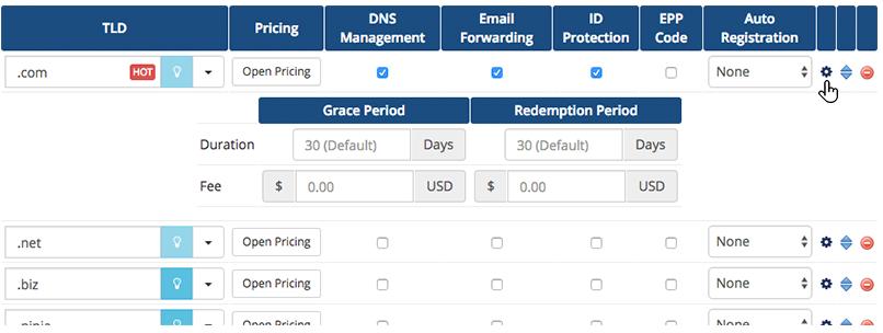 -تنظیمات اتوماتیک دامنه در WHMCSDomain-grace-periods-config-licensha.com